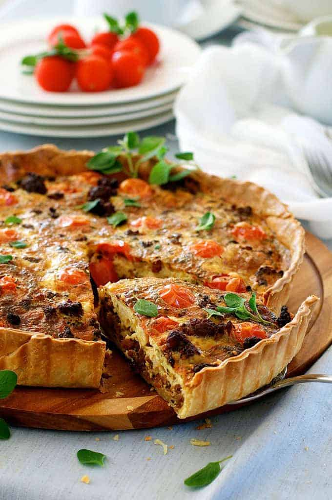 Closeup shot of Italian Sausage Quiche