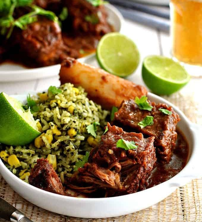 Fiery Mexican Beef Short Ribs - made with a Chipotles in Adobo sauce, it takes time to cook but is very fast to prepare. Great depth of flavour.