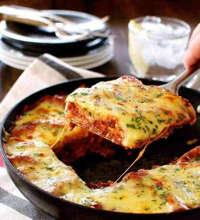 A slice of One Pot Lasagna