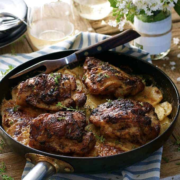 A pan of Rotisserie Flavoured Chicken and Potato Bake