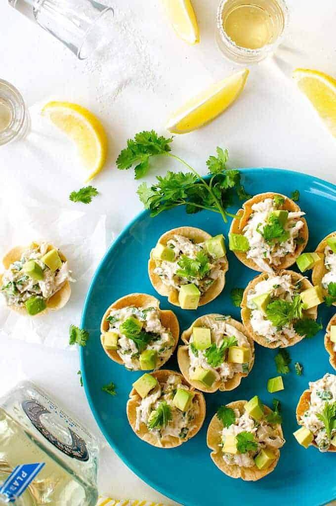 Spicy Little Muffin Tin Chicken Tostadas on a blue plate
