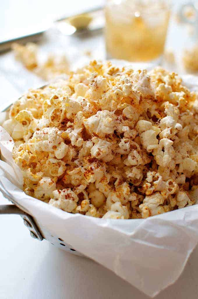 Closeup of Spicy Parmesan Party Popcorn in a bowl