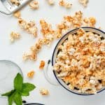 Overhead shot of Spicy Parmesan Party Popcorn in a bowl