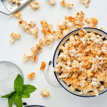 Spicy Parmesan Party Popcorn