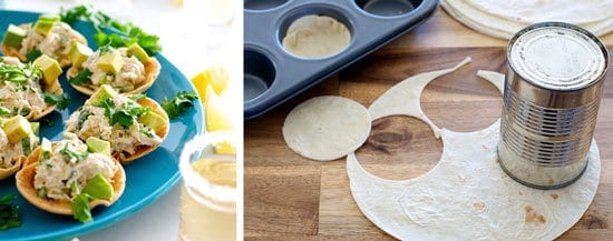 Cutting tostadas from tortillas with a can