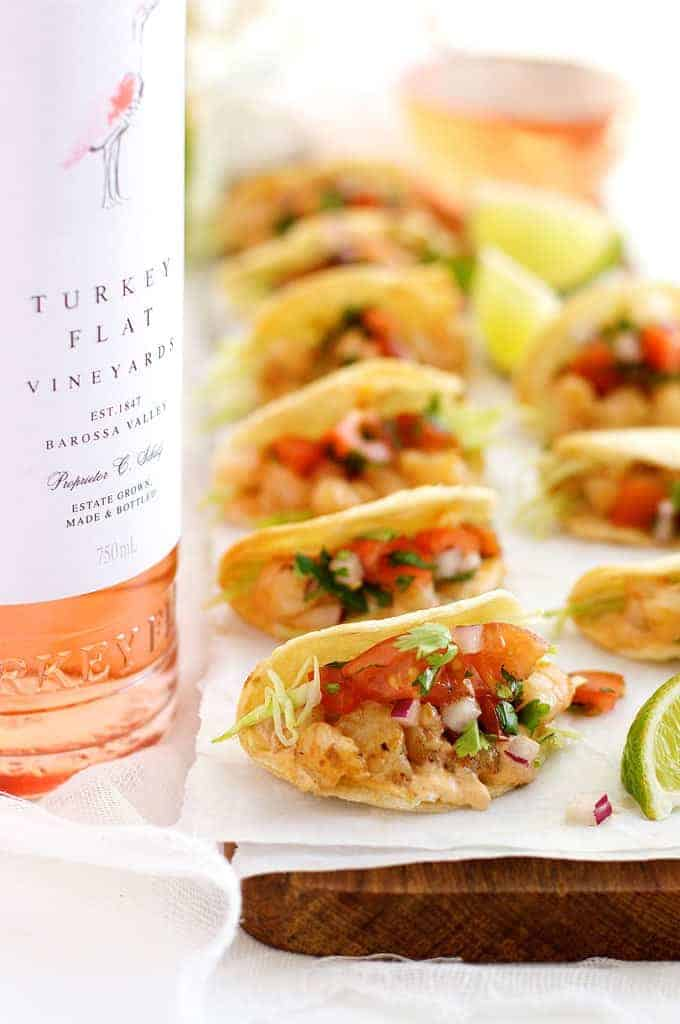 Prawn / Shrimp Taco Appetizers with Turkey Flat rosé