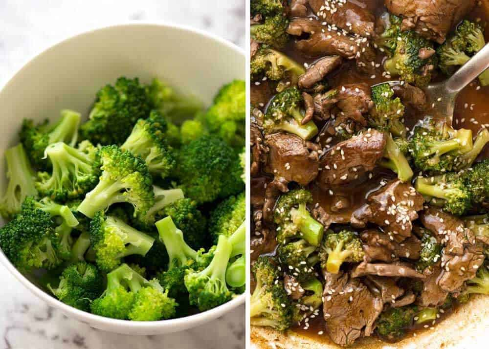Steamed broccoli for Chinese Beef and Broccoli