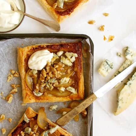 Caramelized Pears and Blue Cheese (Gorgonzola) Tarts