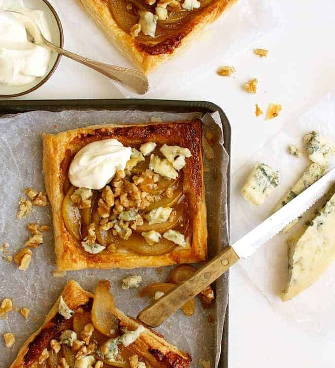Caramelized Pear and Blue Cheese Tarts
