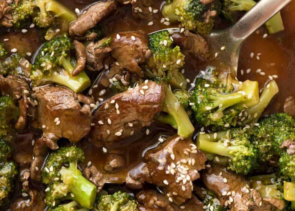 Close up of Chinese Beef and Broccoli in a skillet.