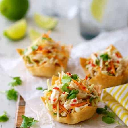 Thai Chicken Salad Wonton Cups