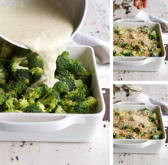 Creamy Parmesan Garlic Broccoli Casserole Bake (Gratin) - made from scratch without a drop of cream!