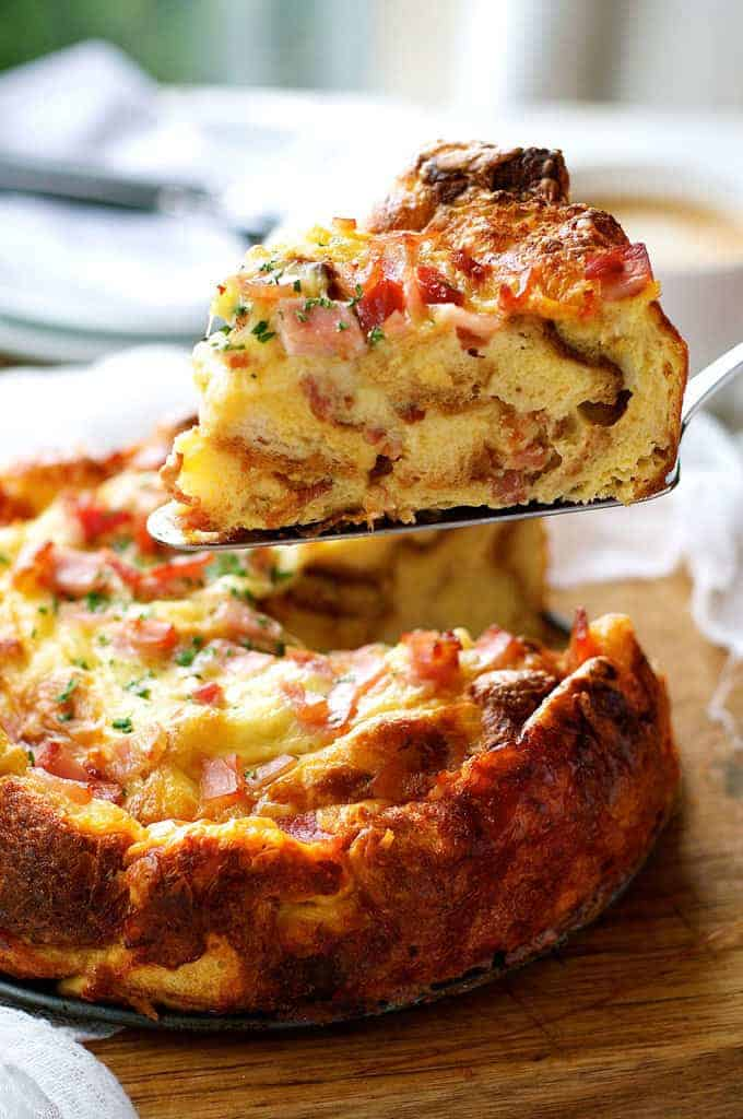 Closeup of a slice of Cheese Bacon Strata Cake