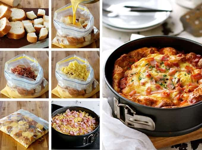 cheese bacon strata cake savoury bread pudding bread bake made with just - Strata Egg Dish
