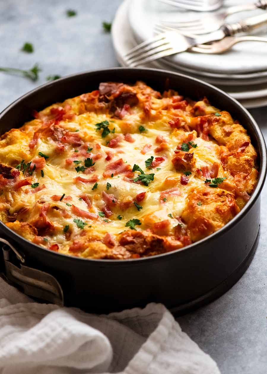 Cheese and Bacon Strata Cake - Breakfast Casserole ready to bake in the oven