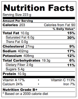 Nutrition for 8 servings