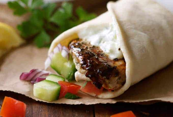 Greek Chicken Gyros with Tzatziki - the marinade for the chicken is so good, I use it even when I'm not making gyros! recipetineats.com