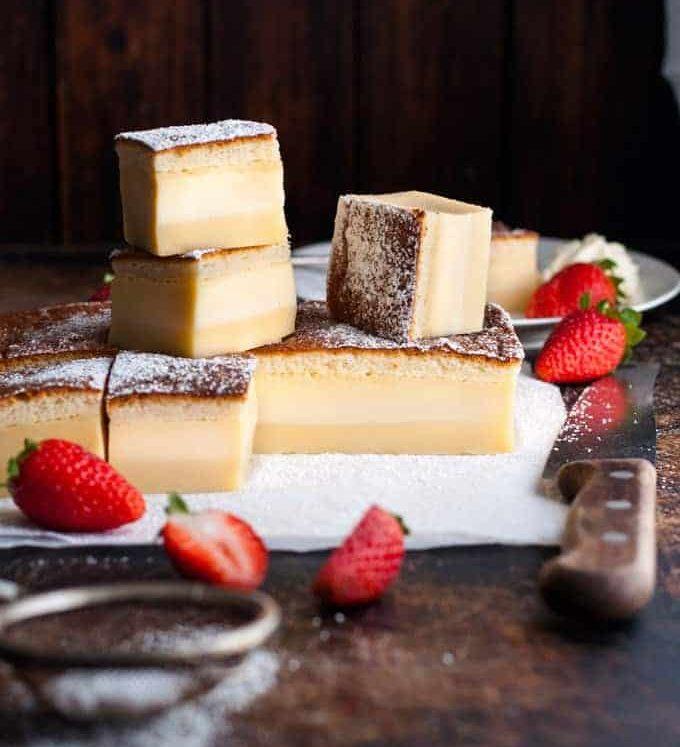 Magic Custard Cake - one simple batter transforms into a 3 layered cake!