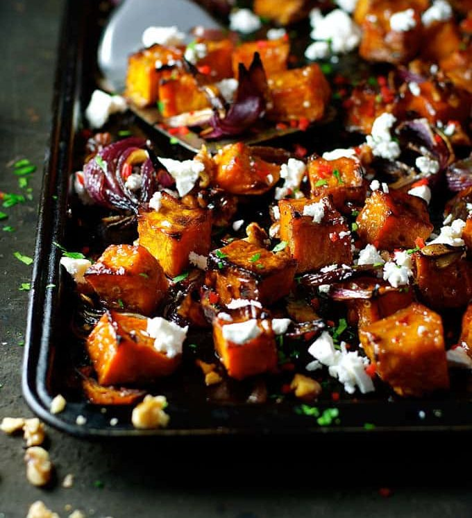 Maple Roasted Pumpkin with Chili and Feta - a dash of maple syrup creates extra caramelisation and the chili adds a great kick!