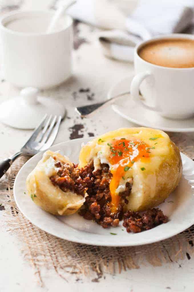 Sausage and Egg Breakfast Potato Skins | RecipeTin Eats