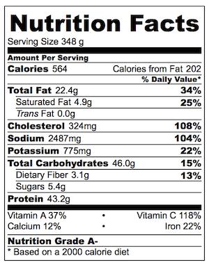 Singapore Noodles Nutrition