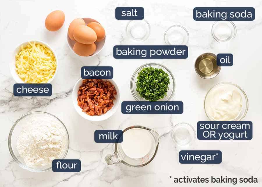 Ingredients in Bacon and Egg Breakfast Muffins with whole egg inside