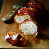 Maple Bacon Wrapped Pork Tenderloin (4 Ingredients) - Pork + Maple + Bacon + Olive Oil is all you need to make this. Easy enough for midweek, fancy enough for dinner parties.