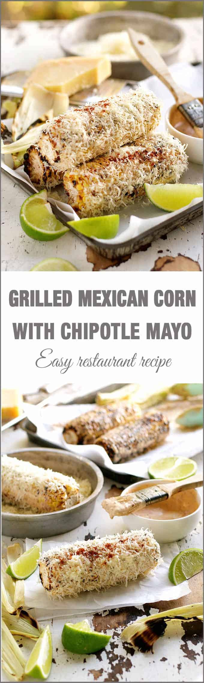 Grilled Corn with Chipotle Adobo Mayo (Restaurant Copycat) - this is the best corn I have ever had in my life. Grilling and stovetop instructions included.