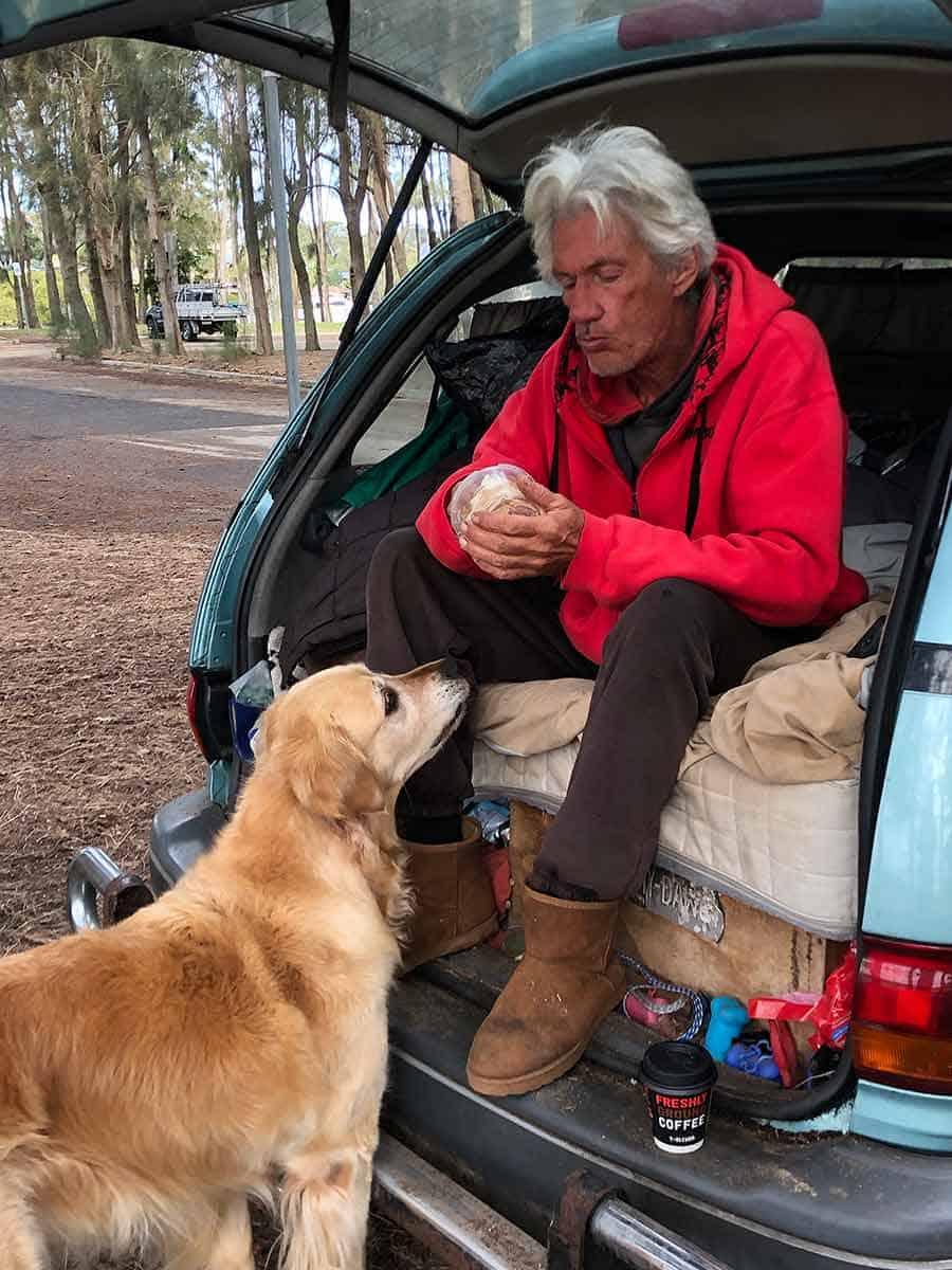 Dozer potato wedges Geoff Bayview dog park