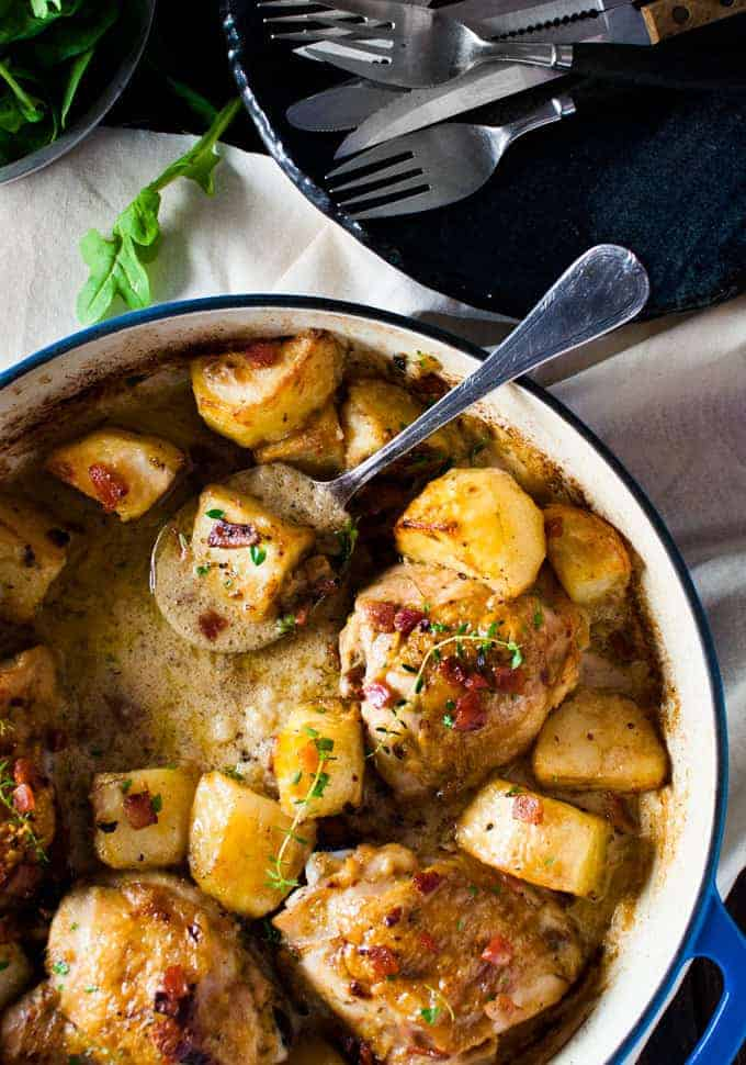 Baked Honey Mustard Chicken With Roast Potatoes And Bacon All Made In One Pan