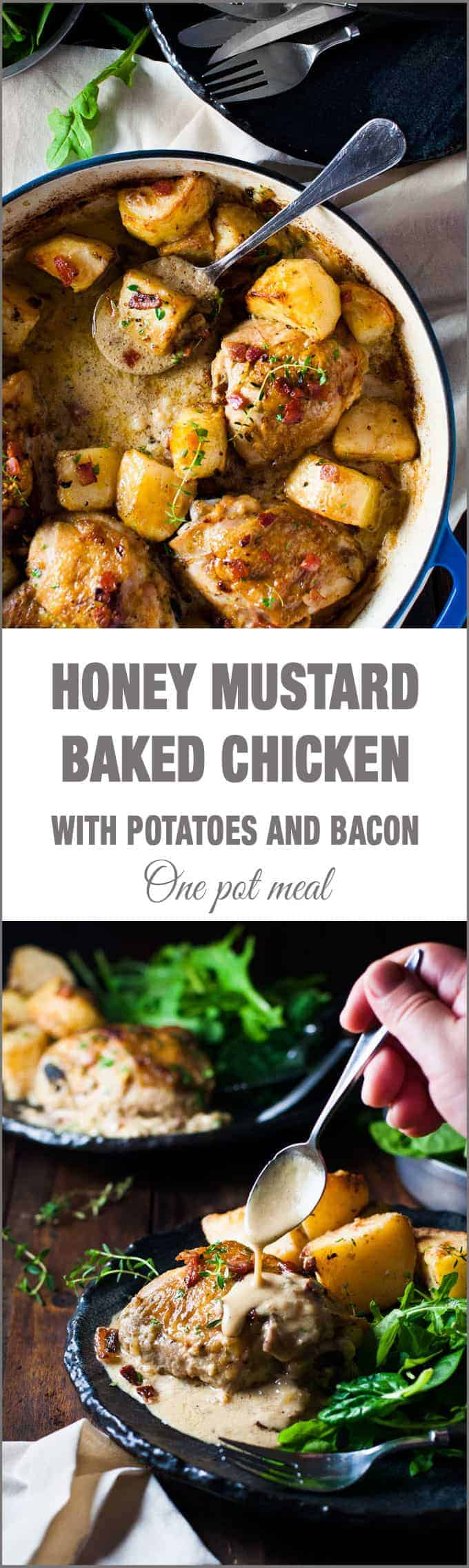 Honey Mustard Baked Chicken With Roast Potatoes And Bacon All Made In One Pan