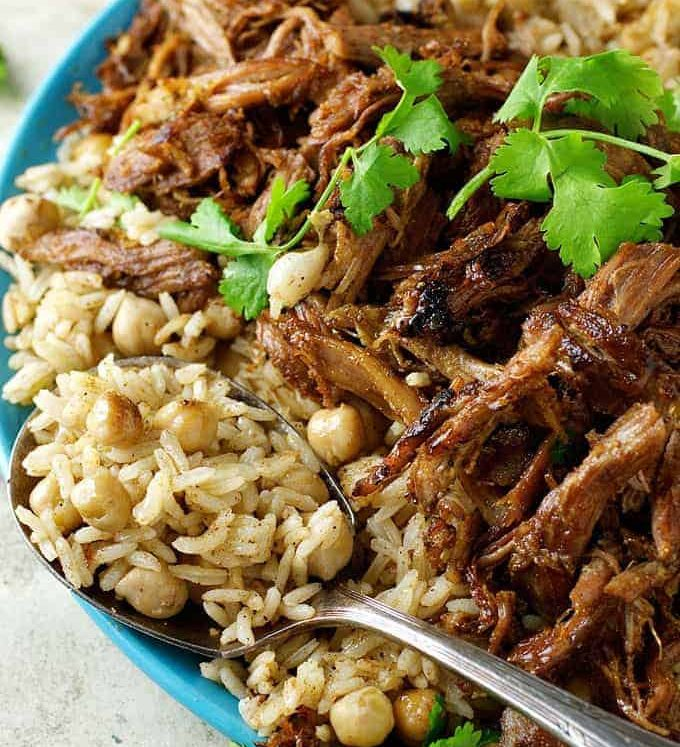 Middle Eastern Shredded Lamb with Chickpea Pilaf (Rice) - easy and fast to prepare, with everyday ingredients. Amazing, exotic flavour.