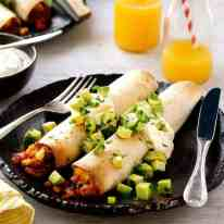 Bacon and Egg Breakfast Enchiladas on a plate