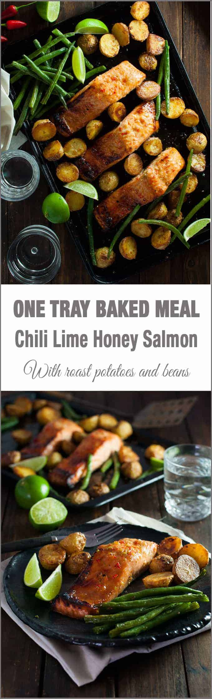 Oven Baked Honey Chili Lime Salmon with Potatoes and Beans (One Tray Meal) - a complete dinner, all made in one tray!
