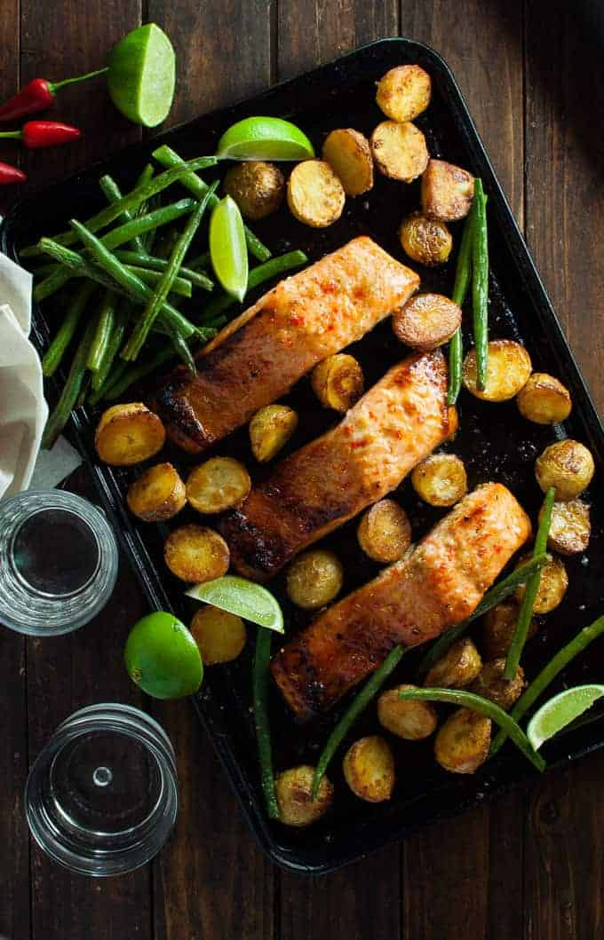 Chili Lime Baked Salmon with Potatoes and Beans (One Tray Meal)