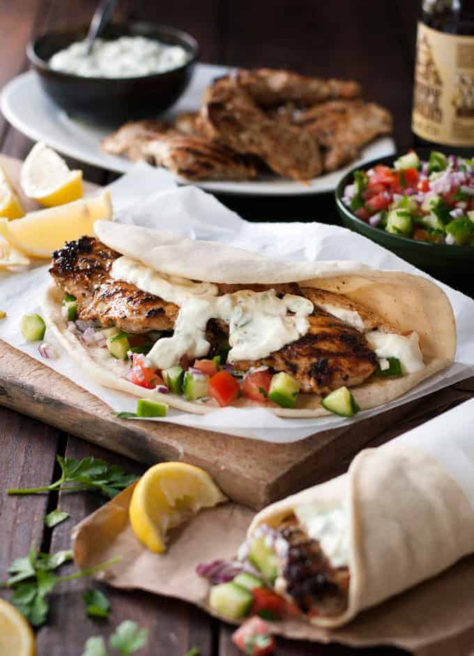 Greek Chicken Gyros with Tzatziki - the marinade for the chicken is so good, I use it even when I'm not making gyros! www.recipetineats.com