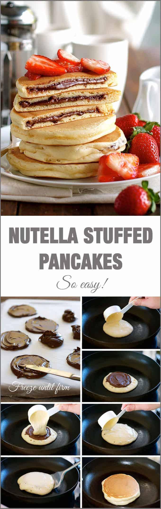 Nutella Stuffed Pancakes - frozen Nutella discs makes it a breeze to ...