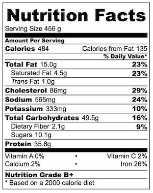 One Pot Bolognaise Orzo Nutrition