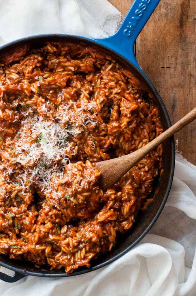 One pot orzo risoni bolognaise recipetin eats one pot bolognaise orzo risoni dinner on the table in 20 minutes forumfinder Image collections
