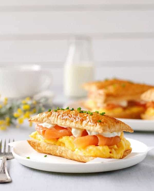 Smoked Salmon and Egg Breakfast Mille-feuille on a white plate