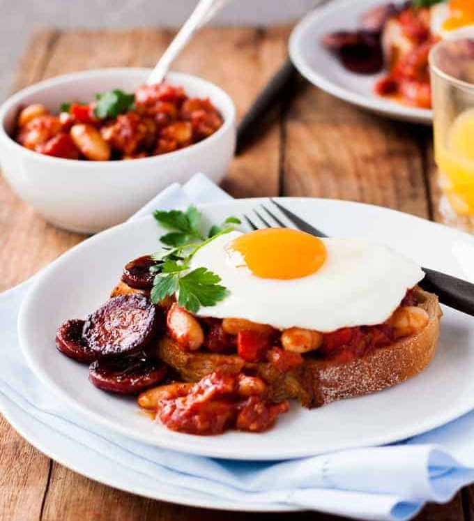 Chorizo and Tomato Beans on Toast - beans in a tomato sauce with chorizo mixed throughout. Something different for brekki this weekend!
