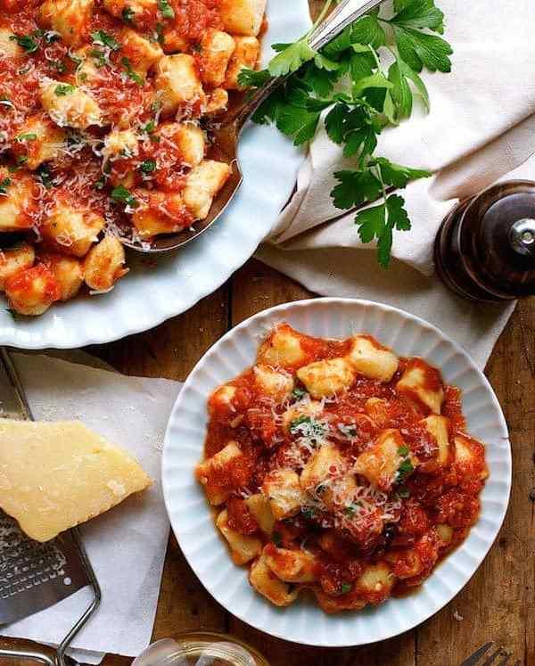 Homemade Ricotta Gnocchi with Tomato Sauce