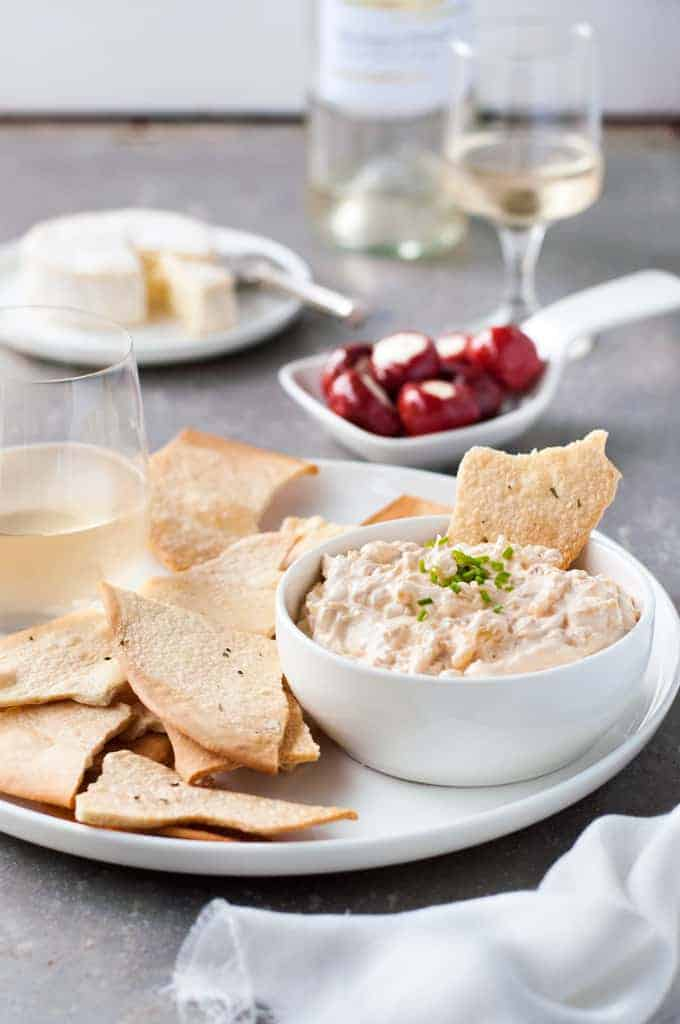 Homemade French Onion Dip served with crispbread
