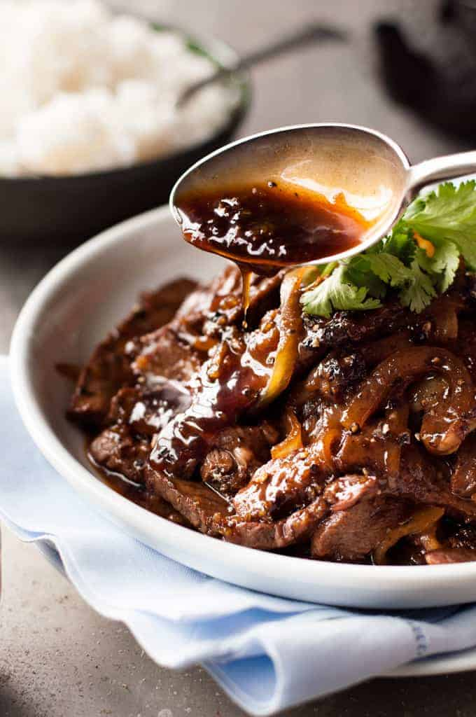 Closeup of Chinese Beef with Honey Black Pepper Sauce