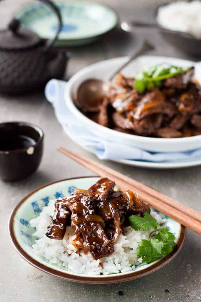 Chinese Beef with Honey Black Pepper Sauce served on rice
