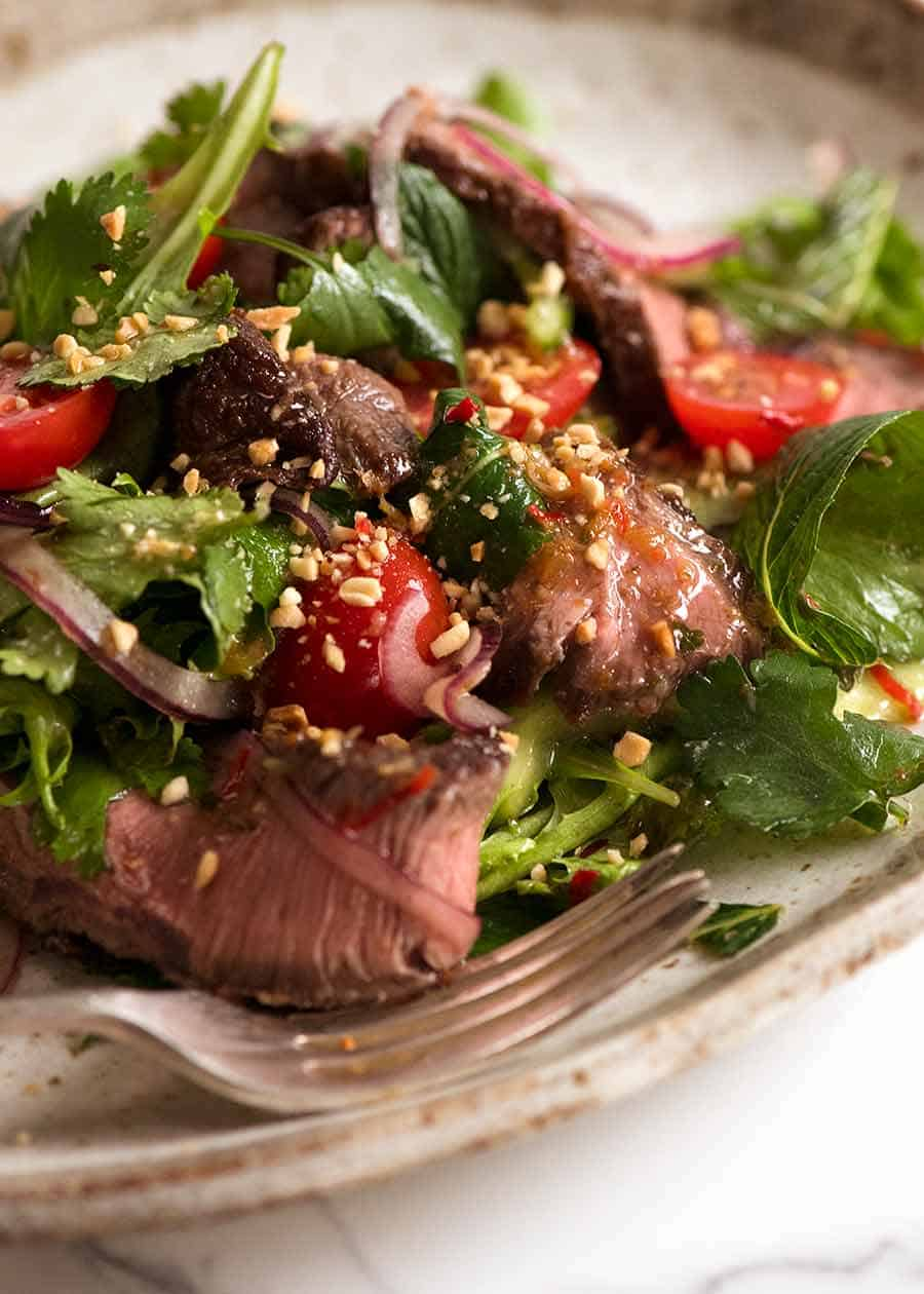 Close up of Thai Beef Salad
