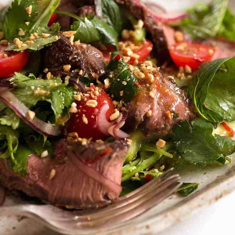 Close up of Thai Beef Salad