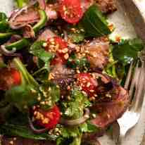 Close up overhead photo of Thai Beef Salad