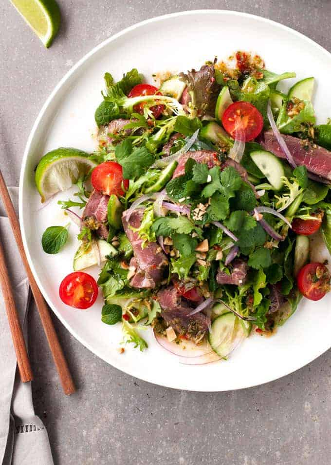 Thai Beef Salad (Restaurant Style) overhead photo
