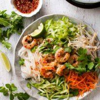 Vietnamese Shrimp Noodle Salad (rice noodles, lettuce, bean sprouts, carrot, cucumber, shrimp, dressing)